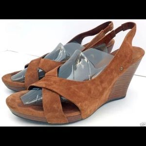 Ugg Chestnut Suede Sling Back Wedges